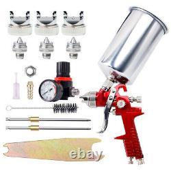 1.4/1.7/2.5MM HVLP Gravity Feed SPRAY GUN Kit Regulator Paint Primer Metal Flake