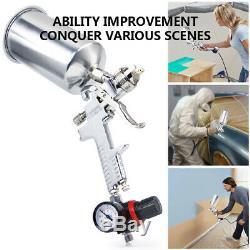 2.5mm Gravity Feed SPRAY HVLP Gauge Paint Guns Nozzle Sprayer Primer Metal Flake