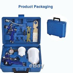2 HVLP Air Spray Gun Kit Auto Paint Car Primer Detail Basecoat Clearcoat