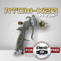 ATOM X20 Professional Spray Gun HVLP Solvent/Waterborne WITH FREE GUNBUDD