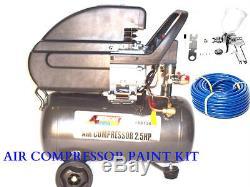 Air Compressor 6 Gallon HVLP Spray Gun1.4 50ft Air Hose Quick Air Fittings