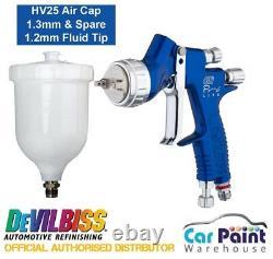 DeVilbiss GTi PRO LITE Spray Gun BLUE HVLP HV25 1.2 & 1.3mm