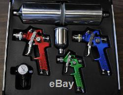 Hvlp High Volume Low Pressure Spray Gun 4 Pcs Kit With Aluminum Case Titan 19221