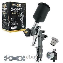 Master Pro 22 Series HVLP Spray Gun, 1.2mm Tip, Air Regulator, MPS Cup Adapter