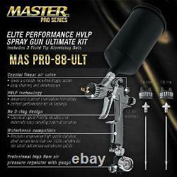 Master Pro 88 HVLP Spray Gun Kit 1.3, 1.4, 1.8 mm Tips, Regulator & Adapter