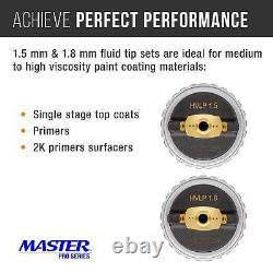 Master Pro Ultimate HVLP Spray Gun 1.3, 1.4, 1.5mm Fluid Tip Sets Air Regulator