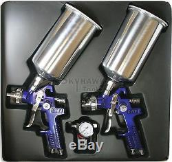 New HVLP 1.4mm & 1.7 mm Gravity SPRAY GUN Auto Paint with Regulator Alum Cup