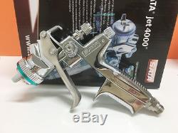 New in box Silver 4000 HVLP WITH CUP Paint Spray Gun Gravity 1.3mm 1set