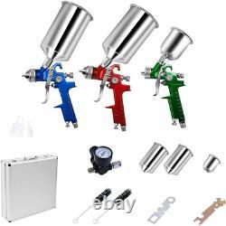 Pistola de pintura automotriz Set kit de 3 pistolas hvlp pintura para auto carro