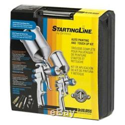 StartingLine 2 Pieces HVLP Finish Coat Detail Gravity Feed Spray Gun Kit