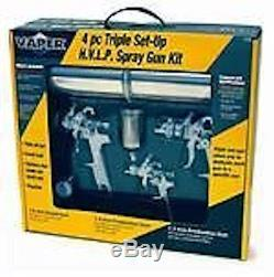 Titan 4 Piece HVLP Triple Set-Up Paint Spray Gun Kit Regulator with Gauge
