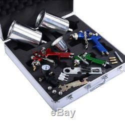 3 Hvlp Air Spray Gun Kit Auto Peinture Primer Voiture Détail Basecoat Verni Superbe