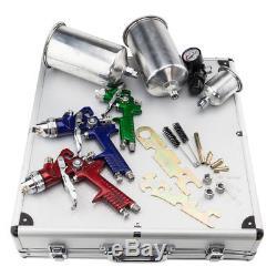 3 Hvlp Pulvérisateur D'air Kit Auto Peinture Auto Primer Basecoat Clearcoat Avec Étui
