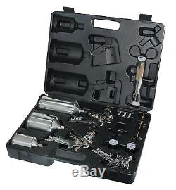 Amstar Deluxe 4 Pc. Kit Pistolet De Pulvérisation Hvlp Avec Mallette De Transport Durable