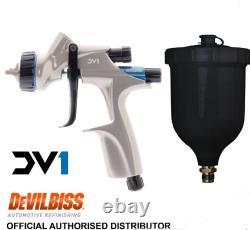 Devilbiss Dv1 Hvlp 1.3mm B Plus Pistolet De Pulvérisation Complet Avec Une Tasse Noire 600 ML Cv1new