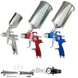 Tcp Global Brand Pistolet De Pulvérisation Hvlp Set 3 Pistolets De Pulvérisation Avec Ventouses Régulateur D'air & M