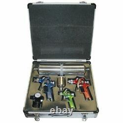 Titan 4 Piece Hvlp Color-coded Triple Set-up Spray Gun Kit With Case New