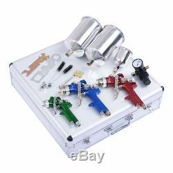 Vaporiser 3pc Haut De Gamme Auto Body Hvlp Pistolet À Air Kit 1.0mm 1.4mm 1.7mm Buse